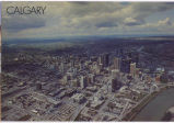 Calgary, Alberta, Canada.  This aerial shot shows the hub of the business section of Calgary, the...